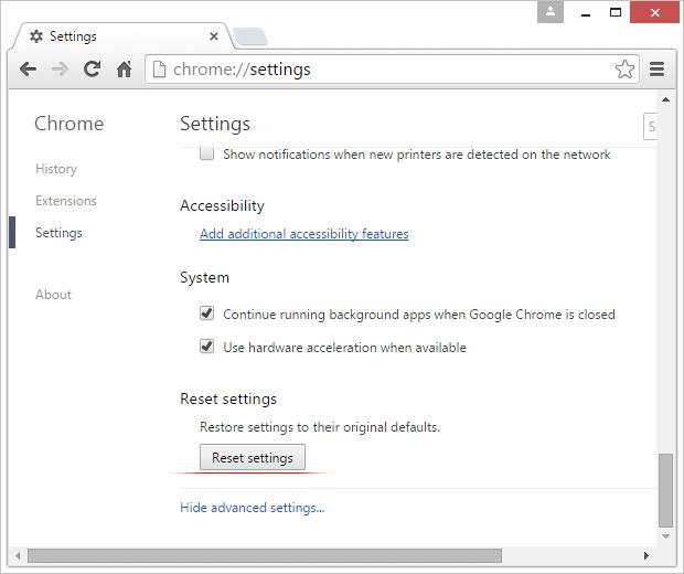 Chrome Reser settings