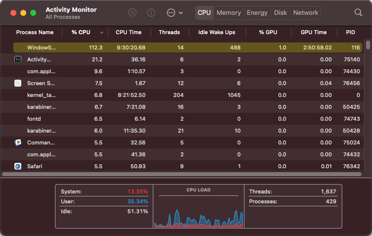 WindowServer process using a lot of CPU on Mac